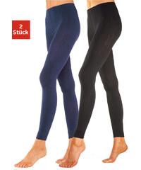 LAVANA Úpletové legíny, Lavana (2 ks) jeans melír + černá