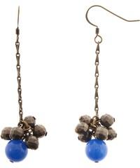 Louise Hendricks Boucles d'oreilles en pyrite et agate bleue - bronze