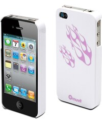 Muvit Glossy - Coque - flammes blanches et violettes pour iPhone 4