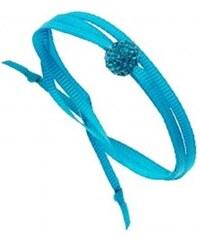 Trendy Mademoiselle Ruban et Perle strass - Bracelet collier - turquoise