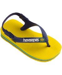 Havaianas baby brasil logo cirtrus yellow - Nu pieds - jaunes et bleu marine