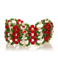 Bague à part Bracelet - perles vert et rouge