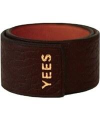 Yees Bracelet claque en cuir - marron