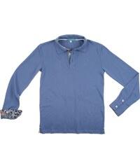 Little California Polo manches longues en coton bio et plaquette fantaisie - bleu
