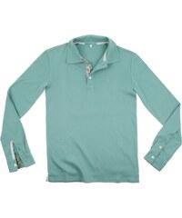 Little California Polo manches longues en coton bio et plaquette fantaisie - vert