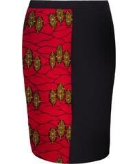 Caran Calire-Josette - Jupe droite mi-longue à imprimé wax - noir