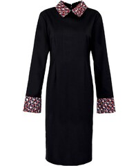 Caran Noumaz - Robe mi-longue à imprimé wax - Noir et rouge