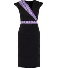 Caran Tina - Robe en coton avec imprimé wax - noir et violet