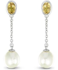 Tous mes bijoux Boucles d'oreilles en argent avec perle et citrine - orange