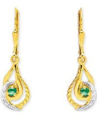 Tous mes bijoux Boucles d'oreilles en or ornées d'émeraude - vert