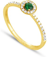 Tous mes bijoux Bague en or ornée de diamants et d'émeraude - vert