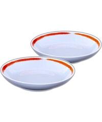 Site Corot Artwork - 2 assiettes calotte Porcelaine de Limoges - orange