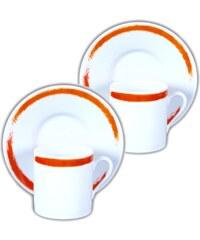 Site Corot Artwork - 2 tasses café et soucoupes Porcelaine de Limoges - orange