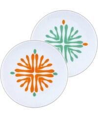 Site Corot Florida - 2 assiettes à pain mini porcelaine de Limoges - orange
