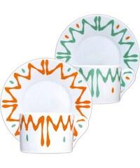 Site Corot Florida - 2 tasses déjeuner et soucoupes en Porcelaine de Limoges - orange