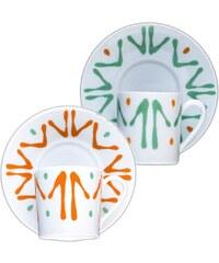 Site Corot Florida - 2 tasses café et soucoupes Porcelaine de Limoges - orange
