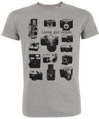 ArteCita Appareil photos vintage - T-shirt imprimé bio - gris