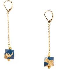 Azucar Bijoux GEO - Boucles d'oreilles hexagones chaines dorées 16K - bleu marine