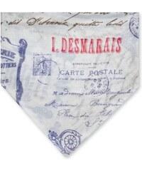 Monsieur Charli COURRIER - Carré en modal laine impression vielle carte postale - ivoire