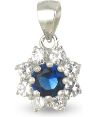Tous mes bijoux Pendentif en argent orné de zircons - bleu