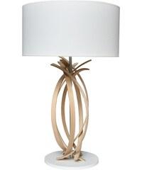 Limelo design Julia - Lampe de table design en bois et abat jour blanc