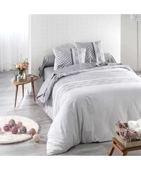 C Design Home Perle - Housse de couette et taie d'oreiller - blenc et gris