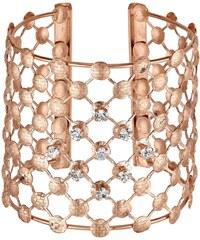 Tania Z Créations Manchette dentelle en laiton doré et cristaux de Swarovski® blancs - rose