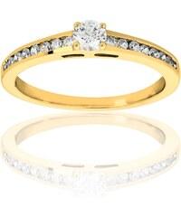 Promesse Solitaire en or ornée de diamants - doré