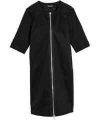 Les Couleurs du Noir JOAN - Robe manteau zippée devant - noir