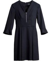 Les Couleurs du Noir ETSUKO - Robe décolleté V et taille cintrée - noir