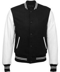 DKS Lyam - Blouson Teddy en laine noir et les manches en cuir blanc - noir