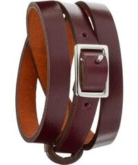 Toui2 Boyish - Bracelet lanière cuir, multi-rangs - prune