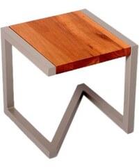 Barnabé Tabouret design en bois et acier laqué taupe