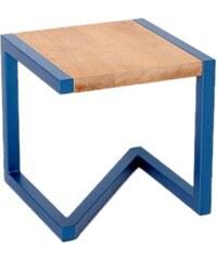 Barnabé Tabouret design en bois et acier laqué - bleu