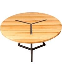 Barnabé Table ronde design en bois et acier - gris