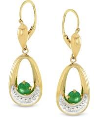 Tous mes bijoux Boucles d'oreilles en or avec émeraudes - vert