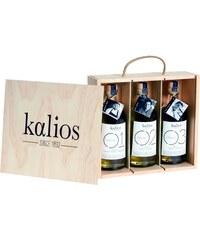 Kalios Coffret bois 3 huiles d'olives des Chefs