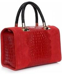 Genuine Leather Elegantní kožený kufřík Aligator červená