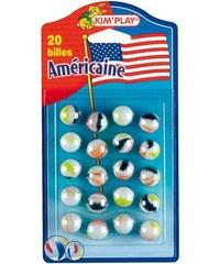 Kim'Play Lot de 20 billes américaines - multicolore
