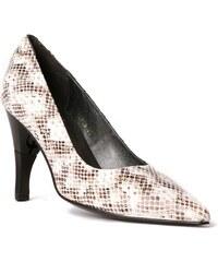 Billie Tango Bella - Chaussures femme pointu en cuir façon boa à talon retractable - taupe