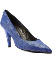 Billie Tango Bella Dre - Chaussures femme pointu en cuir métalisé à talon retractable - bleu