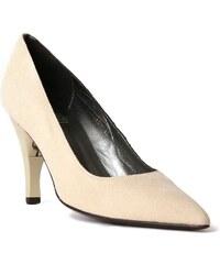 Billie Tango Bella - Chaussures femme pointu en cuir galuchat à talon pliable - beige
