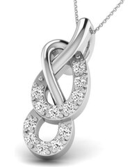 Carashop Pendentif en argent serti de diamants - blanc