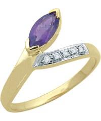 Carashop Bague en argent sertie de diamants avec améthyste - jaune
