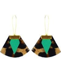 Charly James Chloé - Boucles d'oreille en cuir léopard - multicolore
