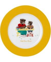 Guy Degrenne Petit ours brun - Assiette à dessert - en porcelaine bicolore
