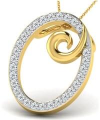 Carashop Pendentif en argent serti de diamants - jaune