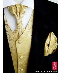 Zlatá svatební vesta Beytnur 8-7 kravata, regata a kapesníček