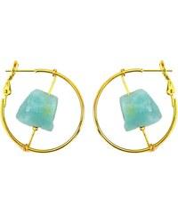 Eclectique Boucles d'oreilles en plaqué or ornées d'une amazonite