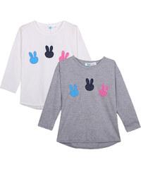 Lesara 2er-Set Kinder-Langarmshirt Bunny - Weiß - 86